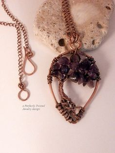 Amethyst Wire Wrapped Tree of Life Pendant Necklace by PerfectlyTwisted