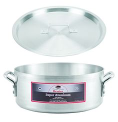 Winco AXBZ24 24Quart 1838 x 534 Super Aluminum Brazier Pan with Cover HeavyDuty Commercial Grade Braiser Pan with Lid NSF * Click image for more details. We are a participant in the Amazon Services LLC Associates Program, an affiliate advertising program designed to provide a means for us to earn fees by linking to Amazon.com and affiliated sites.