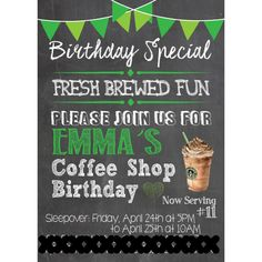 Starbucks birthday party Invitation. All the party details at HomeOfSix Blog on Wordpress