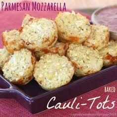 Parmesan Mozzarella Baked Cauli-Tots (aka Pizza-Tots) - Cupcakes & Kale Chips