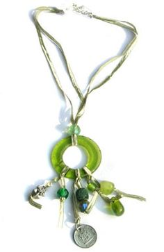 Recycled Glass Circle Pendant & Charms Ribbon Necklace – Wild Dill