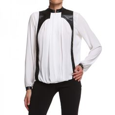 GRACE BLOUSE Blouse with pu leather details on front and back. http://shop.mangano.com/en/topwear/16733-camicia-grace-ecop-offw-ne.html