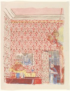 Interior with Pink Wallpaper I, Édouard Vuillard