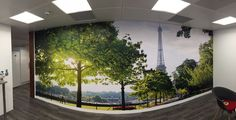 Recent installation of self adhesive digitally printed wall paper installed into clients breakout area, printed HP laser printers.
