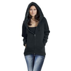 "Forplay Hooded zip, Women ""Zip-Up Longjacket"" black • EMP"