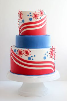 Fourth of July cake Patriotic: Independence Day: of July (CTS) Pretty Cakes, Cute Cakes, Beautiful Cakes, Amazing Cakes, Sweet Cakes, Fourth Of July Cakes, 4th Of July Party, July 4th, Patriotic Party