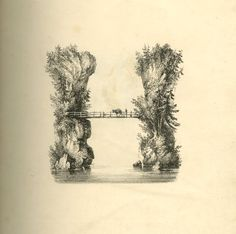 Series of 26 landscape scenes shaped as letters of the alphabet; rebound in a 20th-century binding.  Letter A: upper part composed of three figures around a fire at the edge of a slope to small pond, forming the lower part of the letter; outline by trees.