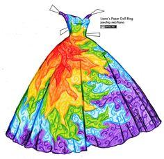 Rainbow Ballgown | Liana's Paper Dolls
