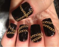 Leather and Chains-Rocker nails!