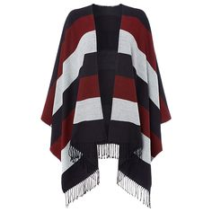 Reversible oversized cape in wide stripe with fringed edges. ONE SIZE Whistles Wide Stripes, Navy Stripes, Stripes Design, Black Cape, Wrap Cardigan, Cape Coat, Stay Warm, One Size Fits All, Whistles