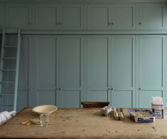 A wall of Shaker-style cabinets in a Strawberry Hill kitchen in southwest London. Photograph courtesy of deVol.