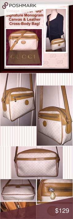"""Vtg GUCCI """"GG"""" Signature Canvas Cross-Body Bag! Vintage GUCCI """"GG"""" Signature Monogram Canvas Cross-Body Bag! Features: 100% authentic, beige Gucci signature """"GG"""" monogram design, top zipper closure with """"GG"""" pull, tan leather trim & long strap, gold tone GUCCI hardware, leather lining, """"Gucci MADE IN ITALY"""" gold plate on inside with serial no. 001.56.0942. 10"""" across x 6 1/4"""" high x 2 1/2"""" wide with 22 1/2"""" shoulder / body clearance. Some int pen marks, wear on the corners & light ext marks…"""