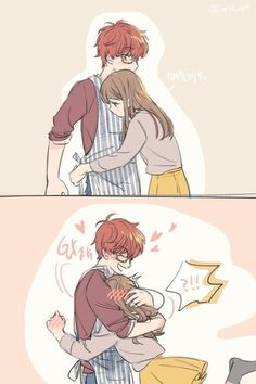 Find images and videos about anime, Mc and mystic messenger on We Heart It - the app to get lost in what you love. Seven Mystic Messenger, Mystic Messenger Fanart, Mystic Messenger Characters, Mystic Messenger Memes, Couples Comics, Anime Couples Manga, Anime Couples Cuddling, Anime Couples Hugging, Luciel Choi