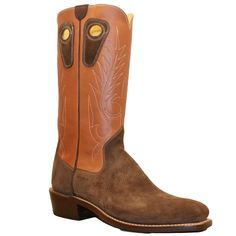 """Handcrafted boot ready for a long day's work or night on the town. This cowboy boot has a tall 14"""" brown upper with Beck Classic stitching. The vamp (foot) is m"""