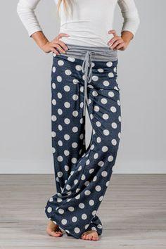 Dotted Wide Leg Loungers | Navy wide-leg-yoga-lounge-pants-navy-polka-dot