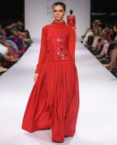 Red Gown with Mirror Work Bodice by Purvi Doshi