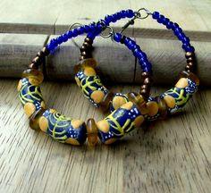 African Glass Beaded Big Hoop Earrings - Blue & Yellow - Bohemian Jewelry - Rustic - stoneandbone