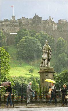 gardens below Edinburgh Castle, Scotland. Such a pretty city ... even in all the rain :) #loveScotland