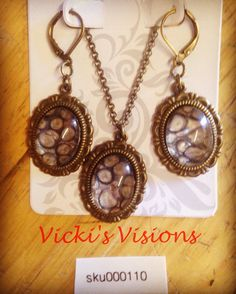 "Antique Bronze 1"" Vintage Oval Pendant 26"" chain Necklace with matching  Earrings. Handmade, Original, and Beautiful!"