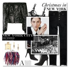 """How to Style a Sequin Blouse with Black Jeans, Booties and a Fringe Bag for Christmas in NYC"" by outfitsfortravel ❤ liked on Polyvore featuring Hermès, Ingie Paris, Alexander McQueen, Freida Rothman, Madewell, Agent Provocateur and Charlotte Russe"