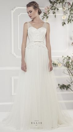 #Ellis2015 Style 19051 'Soft Tulle Slim A-line Dress with Appliquéd Lace Sweetheart Bodice and Slim Beaded Bow Belt'