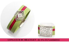 Bracelet Cuir Femme / Cuirs souples vert Anis et Fuchsia /