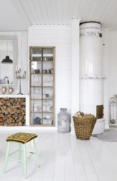 -Love the shiny white floors!!  a scandinavian home with vintage & industrial finds by the style files, via Flickr