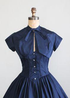 Vintage Late 1940s Taffeta Halter Party Dress and Bolero Jacket
