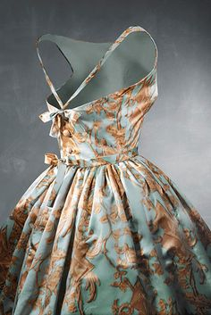 Balenciaga cocktail dress ca. 1957, the fabric is def not me...but Oh that design!!!!
