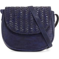 Neiman Marcus Woven Reptile Faux-Leather Saddle Bag (1.596.360 IDR) ❤ liked on Polyvore featuring bags, handbags, shoulder bags, cobalt, faux leather handbags, blue purse, faux leather purses, blue shoulder bag and flap purse