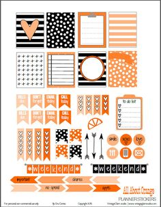 Free All About Orange Planner Stickers | Vintage Glam Studio