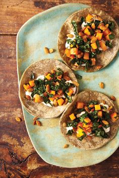 Butternut Squash, Kale, and Crunchy Pepitas Tacos. Must make immediately.