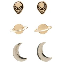 LOVEsick Alien Moon Earring 3 Pair | Hot Topic ($15) ❤ liked on Polyvore featuring jewelry, earrings, accessories, fillers and earring jewelry
