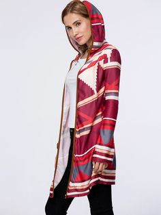 Stylish Hooded Striped Cardigan