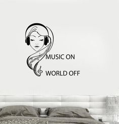 Vinyl Decal Quote Teen Girl Room Music Headphones Musical Wall Sticker Mural (ig2746)