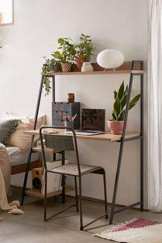 Desk In Living Room, Bedroom Desk, Room Ideas Bedroom, Small Bedroom Office, Bedroom Ideas For Small Rooms, Small Office Desk, Small Space Bedroom, Home Office Design, Home Office Decor