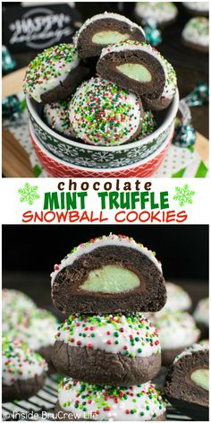 christmas cookies mint Weihnachtspltzchen Colored sprinkles and white chocolate hide the hidden mint candy surprise in these Chocolate Mint Truffle Snowball Cookies. Mint Desserts, Cookie Desserts, Holiday Baking, Christmas Desserts, Christmas Baking, Cookie Recipes, Dessert Recipes, Cookie Ideas, Cookie Buffet