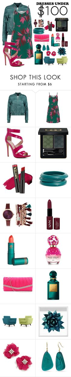 """Teal and Pink, Say What You Think!"" by autumprincess ❤ liked on Polyvore featuring Boohoo, Warehouse, ALDO, Gucci, L.A. Girl, ZENZii, Jessica Carlyle, NYX, Lipstick Queen and Marc Jacobs"