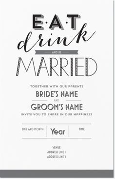 Great Eat Drink And Be Married Wedding Invitation | Wedding, Bridal Showers And  Barn Weddings