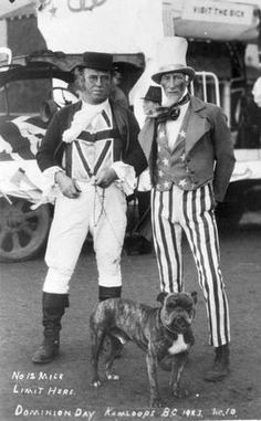 Dominion Day 1923 - John Bull & Bulldog Greet Unkle Sam to Dominion Day at Kamloops , B.C. , Canada. Pinned by Judi Crowe.