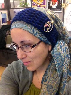 Pashmina, knit headband, vintage pin.