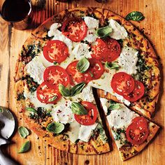 White Pizza with Tomato and Basil. Easy recipe. Done in minutes. Scrumptious flavor.