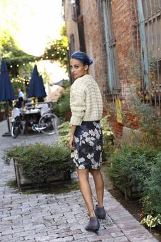 Nicole Richie's knit and floral combo