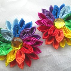 Set of 2 hairclipHairclip kanzashi. hairclip by RibbonAndCrystals