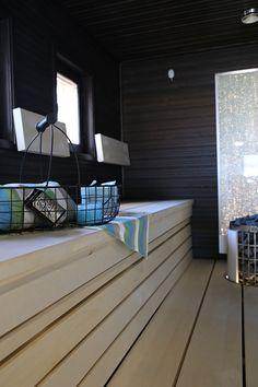 Villa Valli sauna Kalajoen loma asuntomessujen Modern Saunas, Portable Steam Sauna, Spa Rooms, Cottage Interiors, Baths, Villa, Wellness, Bathroom, Inspiration