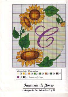 fleur - flower - tournesol - point de croix - cross stitch - Blog : http://broderiemimie44.canalblog.com/