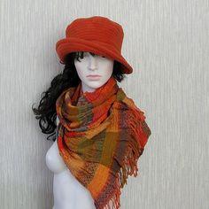 Orange Scarf Wool Winter Accessories  Fashion by DamovFashion
