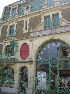 Pharmacie Lesage – 78 rue du général de Gaulle, Douvres-la-Délivrande Architect: Rouvray (1901) #architecture #artnouveau #France #shop #exterior