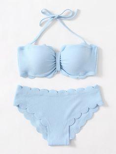 ¡Cómpralo ya!. Scalloped Trim Textured Bikini Set. Blue Bikinis Sexy Vacation Halter Top Polyester YES Swimwear. , bikini, bikini, biquini, conjuntosdebikinis, twopiece, bikini, bikini, bikini, bikini, bikinis. Bikini  de mujer   de SheIn.