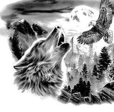 I& a fan of the wolf and the eagle . - I& a fan of the wolf and the eagle … - Wolf Tattoo Forearm, Tribal Wolf Tattoo, Wolf Tattoo Sleeve, Wolf Tattoo Design, Tattoo Sleeve Designs, Lion Tattoo, Sleeve Tattoos, Chest Tattoo, Forest Tattoos